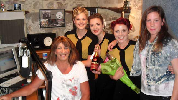 Joanne with daughter Hannah and the Three Belles